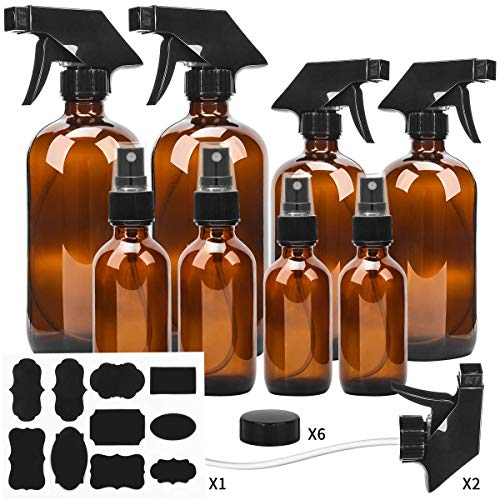 ESARORA Amber Glass Spray Bottle Set