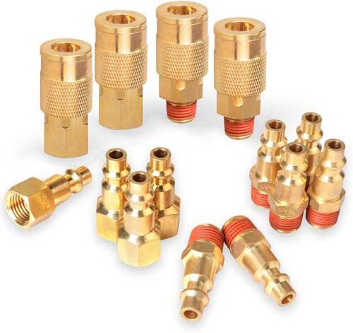 PowRyte 14-Piece 1/4-Inch Industrial Solid Brass Quick Coupler Set