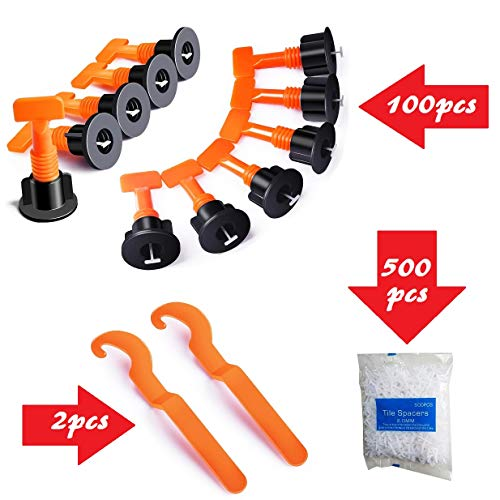 YIYATOO 100 Pcs Tile Leveler Spacers And 500 Pcs 2mm Tile Spacer, Tile Leveling System