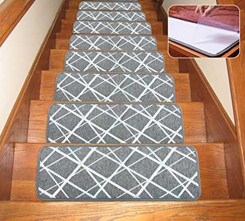 Seloom Dog Assist Gray Stair Treads Carpet Non-Slip